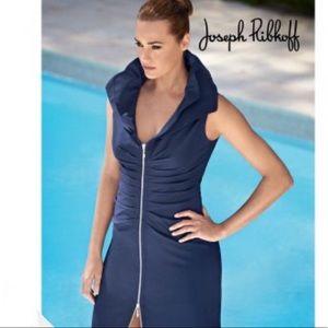 Joseph Ribkoff Navy Blue Ruffle Collar Dress SZ 6